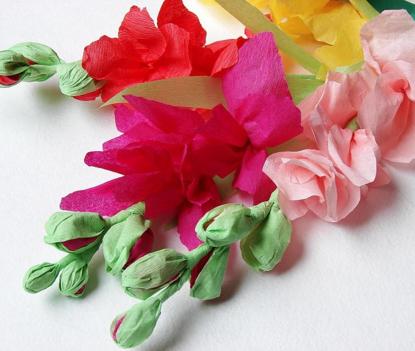 Цветы из гофрированной бумаги фото урок