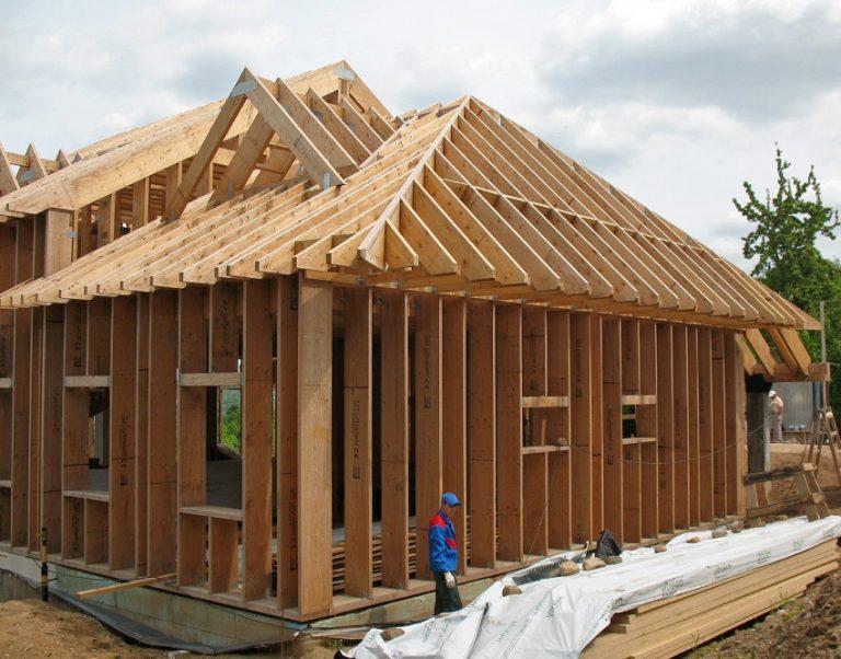 фото как делать каркасный дом из бруса нас