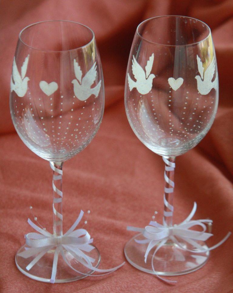 Украшение бокалов на свадьбу картинки